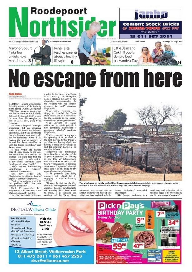 My third front cover - Roodepoort Northsider, 31 July 2015