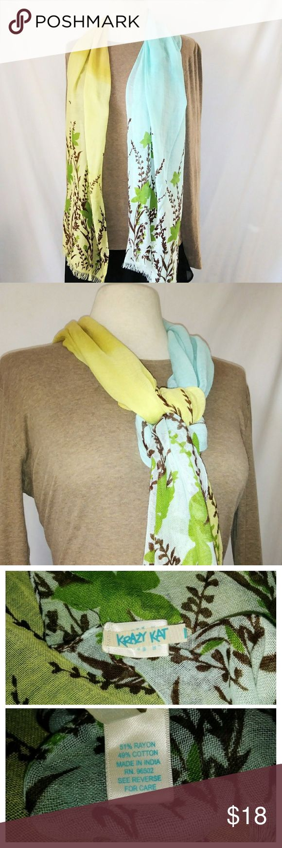 #hundredsofscarves: KRAZY Kat 2-Tone Cotton Scarf Sky Blue & Light Green Two-Tone Lightweight Cotton Blend Scarf by Krazy Kat. In excellent used condition. From a smoke free home. Make an offer! BUNDLE & Automatically Get 20% Off on 2+ Items. Bundle one or more items and I'll make you a private offer up to 40% off - the bigger the bundle the bigger the savings! *Hundreds of Scarves @gratefulbox = POSH AMBASSADOR at yr service!* Krazy Kat Accessories Scarves & Wraps