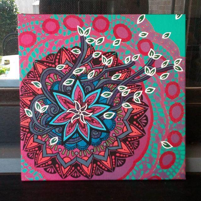 "Mandala love. x Christmas gift'n!  Freehand, sprays & acrylics on canvas. 8 x 8""."