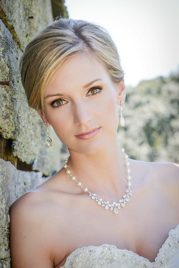 Bridal Jewelry Pearl Wedding Necklace Bridal earrings Swarovski Crystal rhinestone Swarovski Pearl,  Wedding jewelry, Claire Set on Etsy, $115.00
