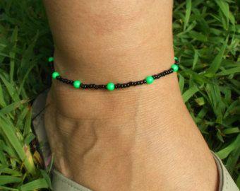 Black and Neon green beaded anklet. Swarovski crystal pearls. Ankle bracelet. Adjustable