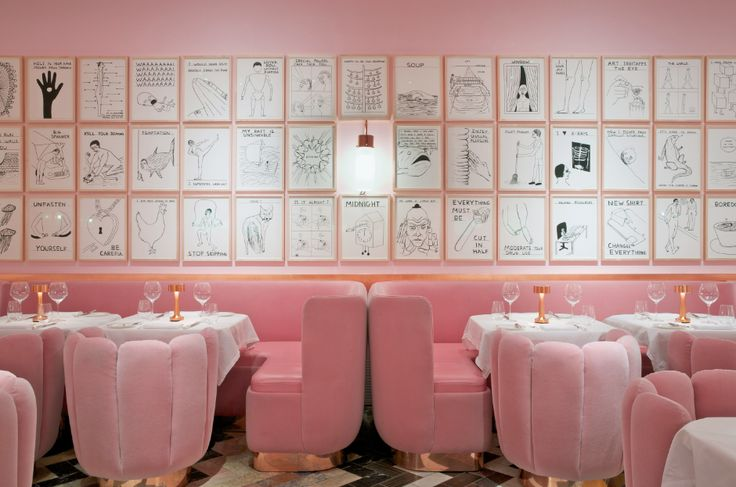 Installation of drawings by David Shrigley at The Gallery Restaurant at Sketch, London. Interior design by India Mahdavi.
