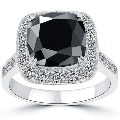 5.17 CT. Cushion Cut Black Diamond Engagement Ring 14k White Gold Vintage Style - Black Diamond Engagement Rings - Engagement