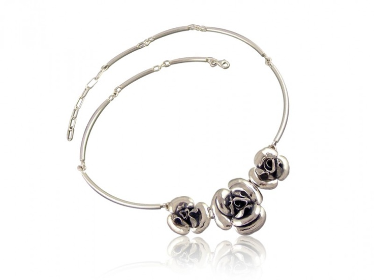 Silver handmade necklace - ROSE
