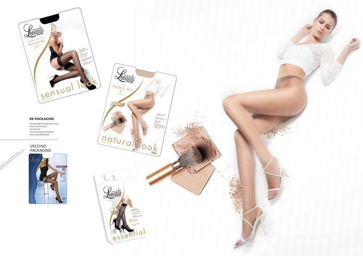 Packaging Restyling di Tutta la linea classica continuativa, Packaging, art direction e Post-Produzione fotografica: Laura Boccola Cliente: LEVANTE Calze #photo #retouching #packaging #design #woman #tights #legs