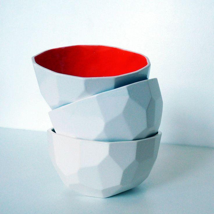 Modern ceramic bowl handmade in polygons - Poligon bowl - Green