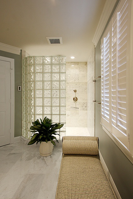 Glass block tile wall by NVS Remodeling & Design