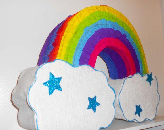 Rainbow Pinata. Rainbow Birthday Party. Rainbow Decoration. Unicorn Birthday Party. Rainbow Party theme. Colorful Birthday Party. Piñatas.