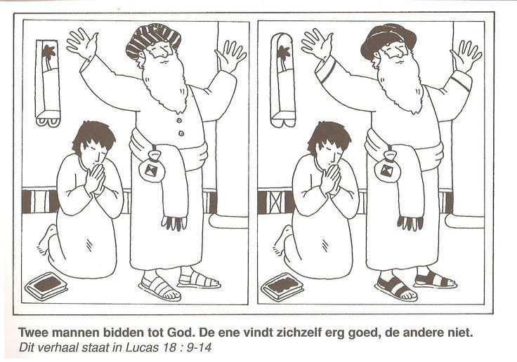 2 mannen bidden tot God, de ene vindt zichzelf erg goed de ander niet Fariseer en de tollenaar  zoek de 10 verschillen gelijkenis