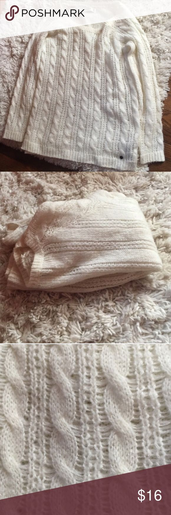 Abercrombie Kids White Long Cable Knit Sweater EUC.No rips or stains. Abercombie Kids Shirts & Tops Sweaters
