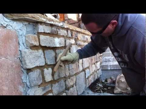 How to use a grout bag Grouting veneer stone Part 2 - YouTube