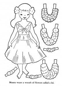 hawaii paper doll this site has more paper dolls and color sheets with kids in - Paper Doll Clothes Coloring Pages