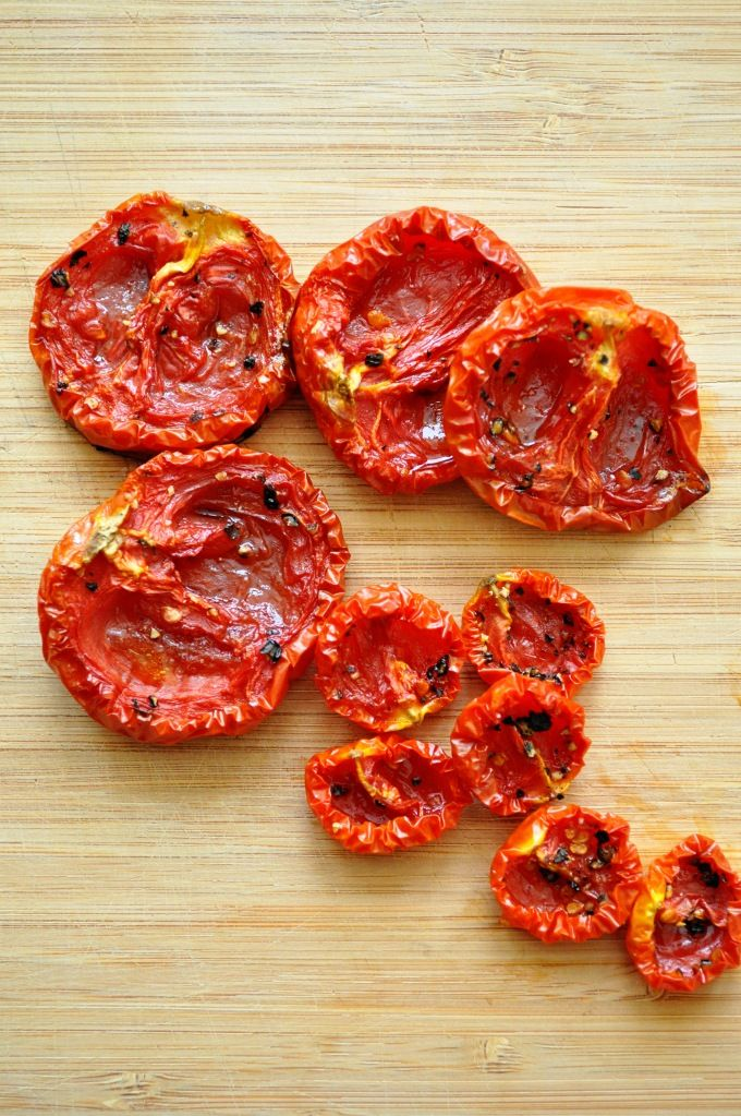 Oven-Dried Tomatoes. I have recipes that call for sun-dried tomatoes, now I can DIY, and save a bunch of $! (and I have some ripe tomatoes just waiting for attention)