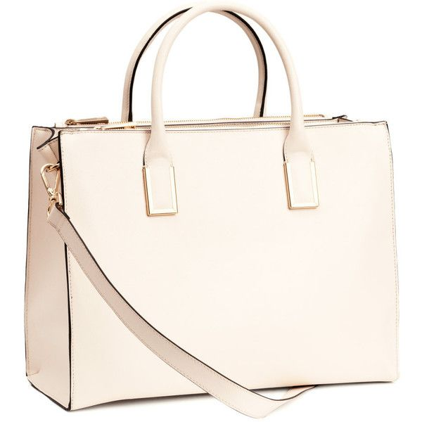 H&M Handbag featuring polyvore, fashion, bags, handbags, purses, accessories, bolsas, malas, natural white, h&m, studded purse, white bags, white studded purse and long purses