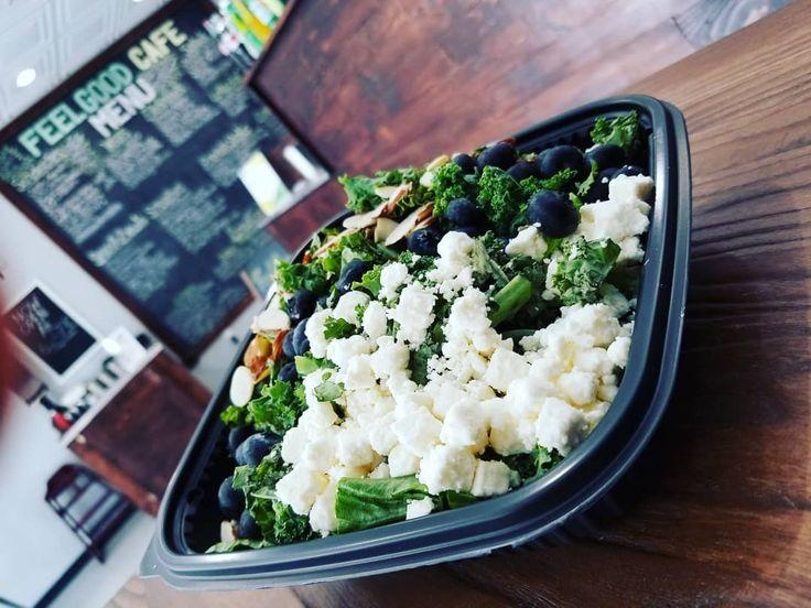 NEW Blueberry Kale Salad . Fresh Blueberries Almond Slices Feta Crumbled Chopped…