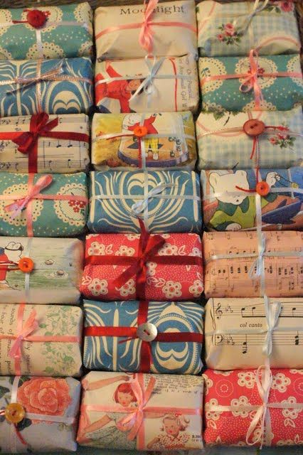 Soaps (or any small gift) wrapped in old children's book pages.