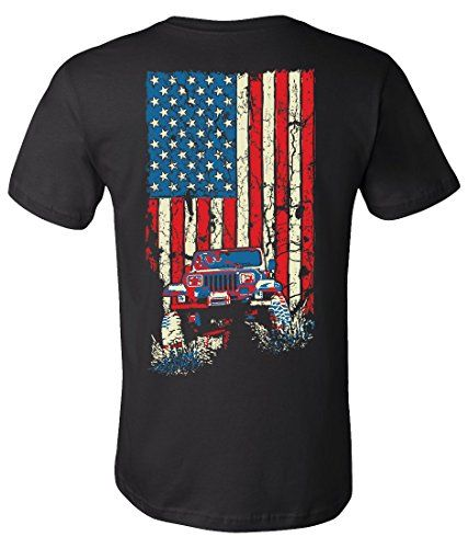 American Flag Jeep Wrangler Yj T Shirt  Design On Back