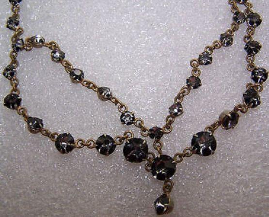 Edwardian black Dot Paste Crystal Necklace Swedish by devereauxday, $120.00