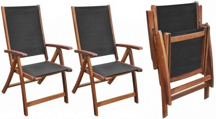 Black Folding Patio Chairs Wooden Garden Furniture Set Outdoor Dining Seating