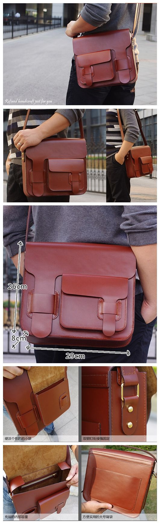 100% Handmade Genuine Leather Messenger Bag, Crossbody Bag, Shoulder Bag