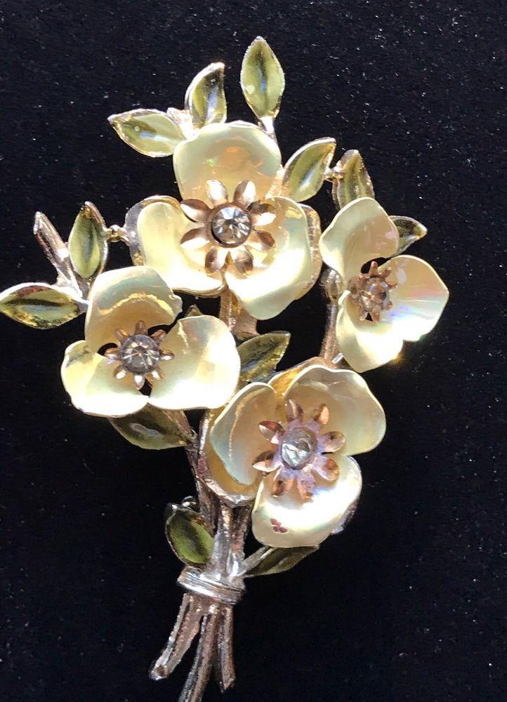 VINTAGE YELLOW CORO SIGNED LUSTER METAL ENAMEL RHINESTONE FLOWER BOUQUET BROOCH   eBay