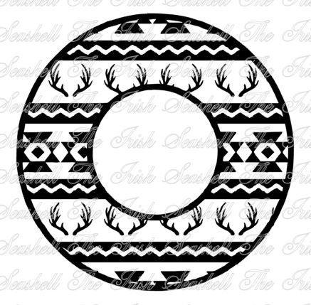 Aztec Tribal Deer Antler Monogram Circle svg dxf for by TheIrishSeashell on Etsy