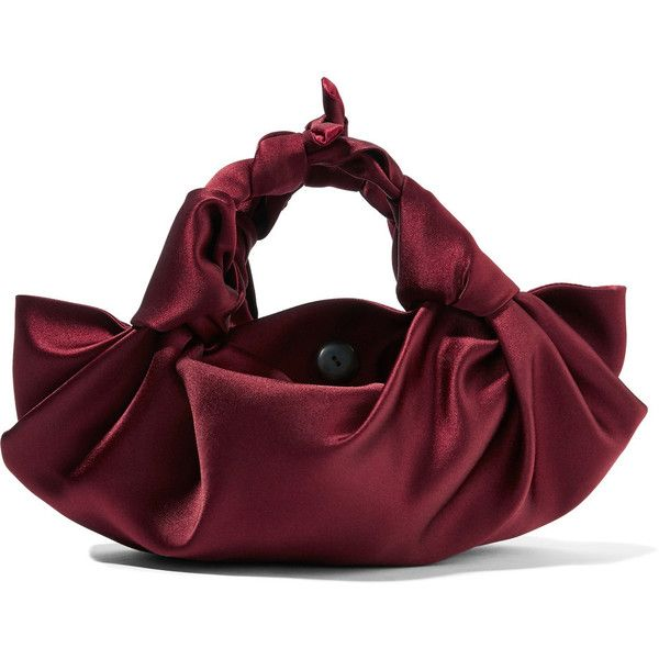 The Row Ascot small satin tote ($990) ❤ liked on Polyvore featuring bags, handbags, tote bags, burgundy, tote purses, slouchy tote bag, mini tote purse, polka dot tote and slouchy tote