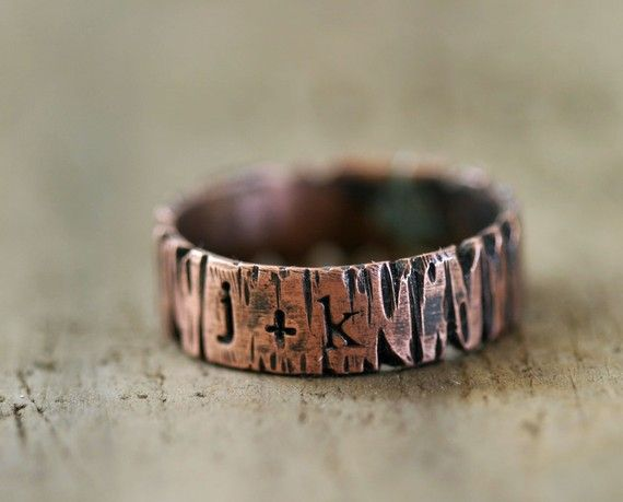 """Personalized Copper """"Redwood"""" Tree Ring - Your Initials Carved Into A Tree! $48"""
