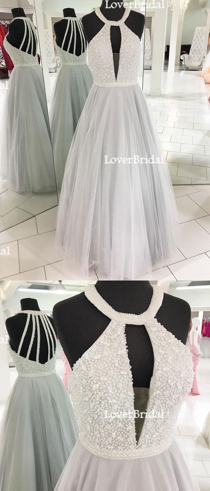2018 Cheap Elegant Fashion Sexy Halter Tulle Beaded A line Custom Grey Long Evening Prom Dresses, 17359