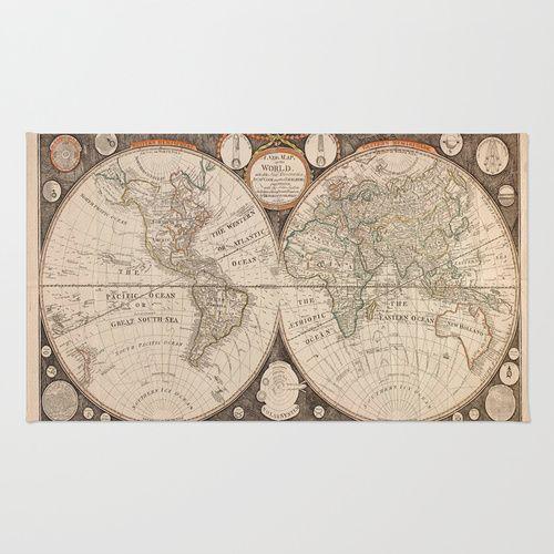 World Map Area & Throw Rug