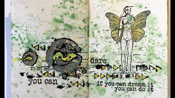 Dare, art journaling with Rubber Dance stamps