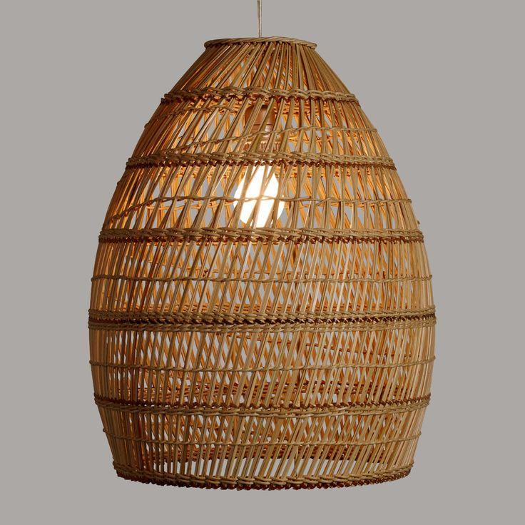 Exceptional World Market Basketweave Bamboo Pendant   Kitchen