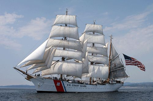 US Coast Guard Eagle  Technically not a ship, but a boat or more specifically a Barque since the mizzen mast is rigged fore and aft.  Still in active service serving as a training vessel.