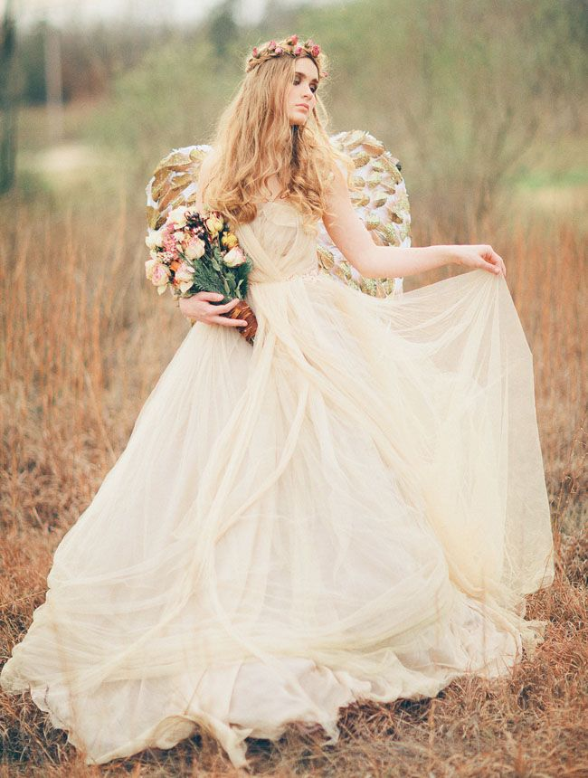 583 best themed weddings images on pinterest themed for Angel wings wedding dress