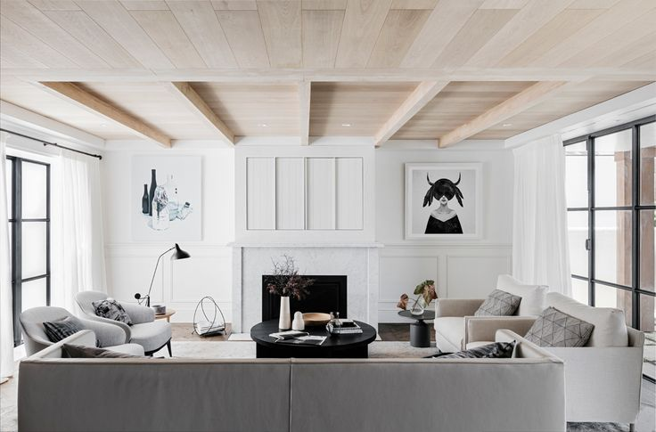 black & white living room, pale wood ceiling