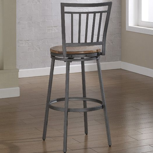 """American Woodcrafters Filmore 30"""" Swivel Bar Stool with Cushion"""