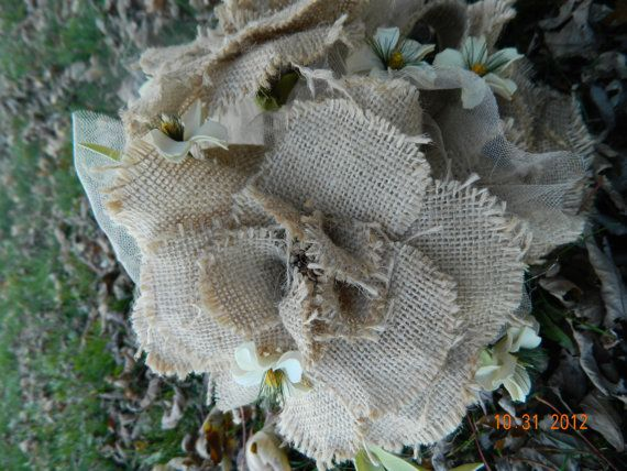 Burlap flower bouquet perfect for your rustic wedding.  Perfect for bride bouquet or bridemaid bouquets.  Made with 3 burlap flowers and