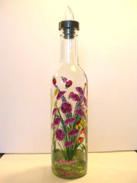 43 best images about glass to do on pinterest painted for Flowers in glass bottles