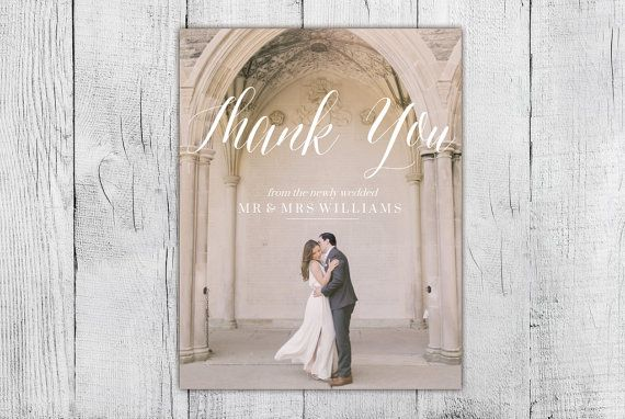 Custom Photo Wedding Thank You Card Calligraphy Thank by Blushly
