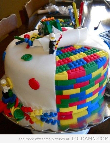 lego cake. stepping on it won't hurt your feet, but it'll be such a waste