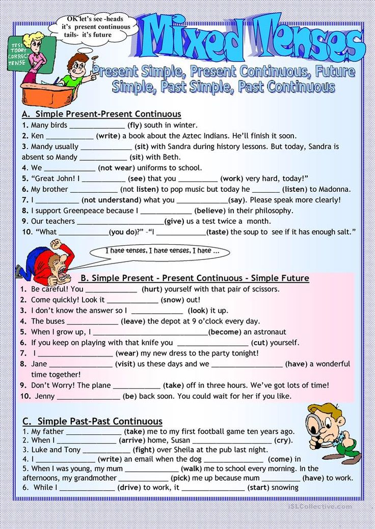 mixed tenses test pdf