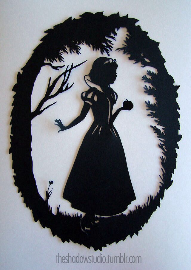 Snow White papercut silhouette by The Shadow Studio