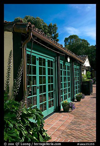 European-style glass doors and brick pavement, Allied Arts Guild. Menlo Park,  California, USA