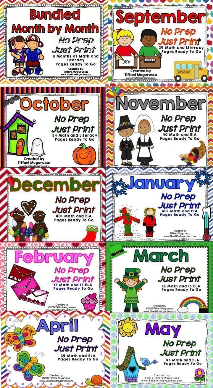 9 Months of Kindergarten No Prep Math and Literacy activities