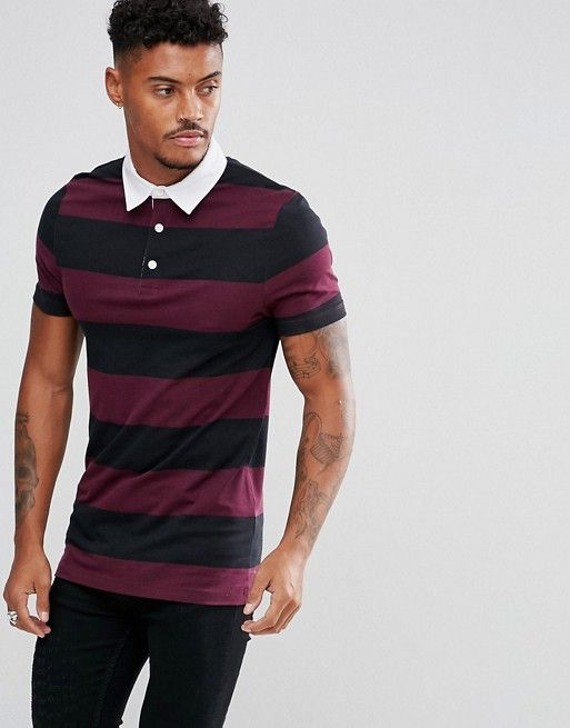 ASOS Muscle Block Stripe Rugby Polo