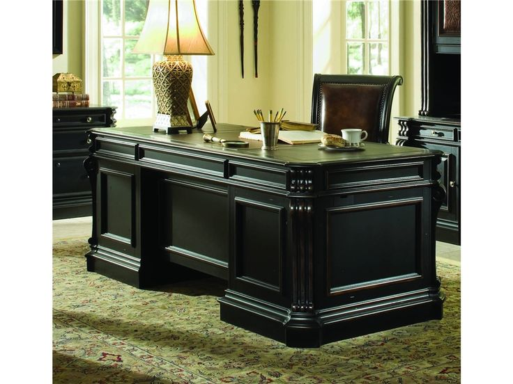 "Hooker Furniture Home Office Telluride 76"" Executive Desk w/Wood Panels 370-10-563"