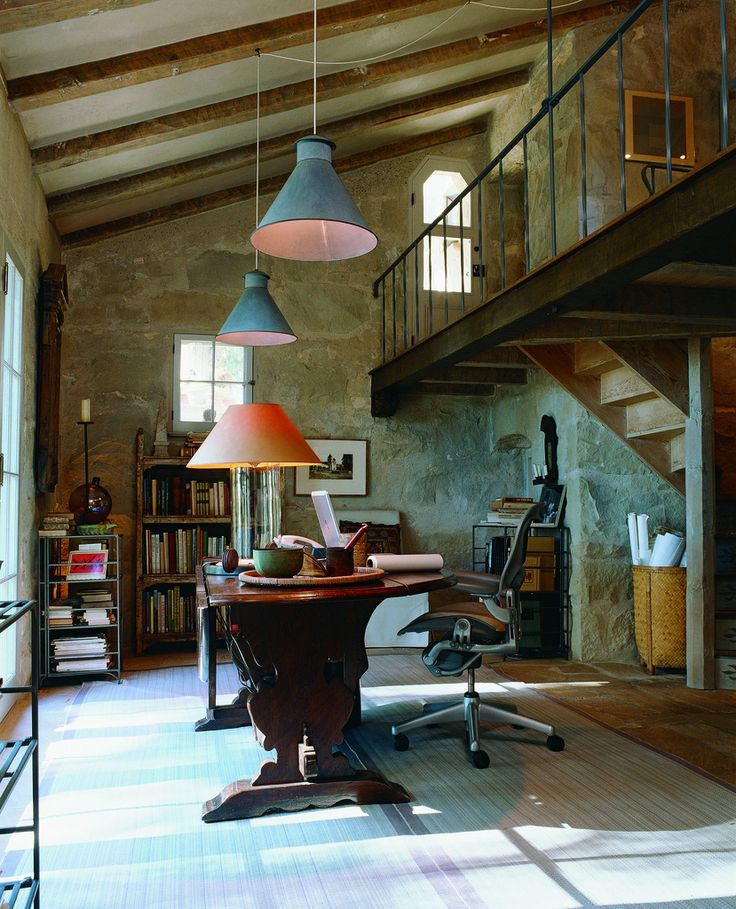 Love this office.  Wonder what the view looks like?: John Saladino, Stones Wall, Offices Spaces, Interiors Design, Work Spaces, Workspaces, Bedrooms Interiors, Wood Beams, Design Offices