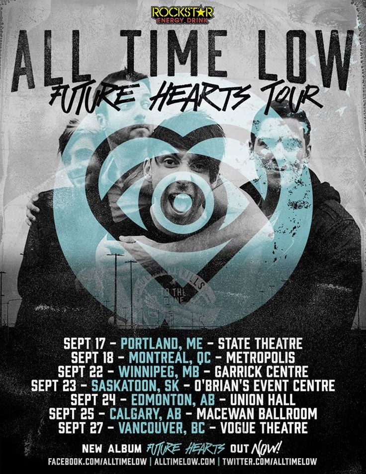 "NEWS: The pop punk band, All Time Low, has announced a headlining Canadian tour, called the ""Future Hearts Tour,"" for September. They will be touring in support of their latest album, Future Hearts. You can check out the dates and details at http://digtb.us/1Ir8Zjd"