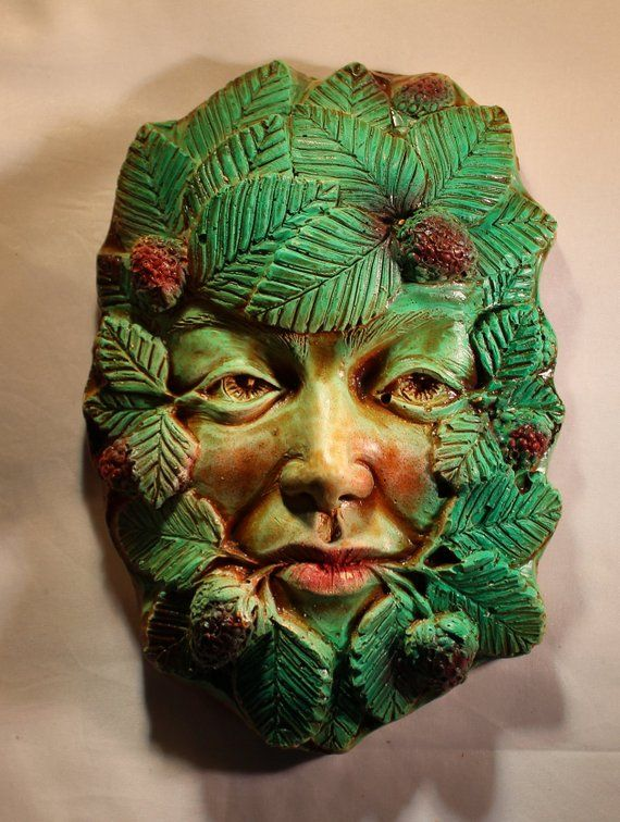 Strawberry Thief Green lady plaque, Jack in the green, pagan