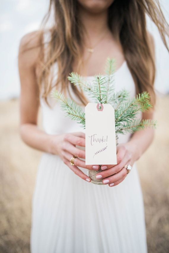 Pine tree wedding favor with lettering by SCOUT + LILLY on 100 Layer Cake